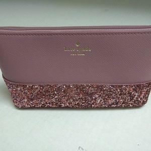 Kate Spade Pink Glitter Cosmetic Bag